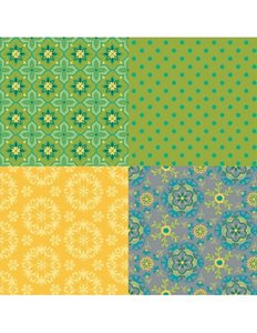 Wildflower Boutique Fat Quarter Panel Green Riley Blake